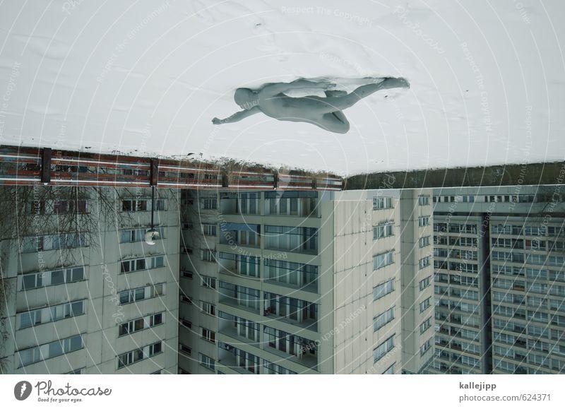einer flog über das kuckucksnest Mensch maskulin Mann Erwachsene Körper 1 Stadt Haus Hochhaus Fassade fliegen Schneefall Held silber Himmel verdreht