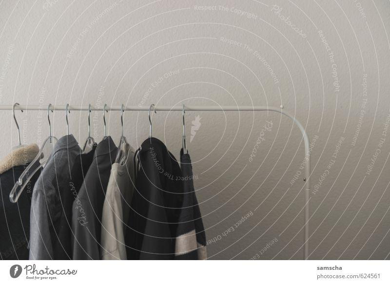 Kleiderstange Häusliches Leben Wohnung einrichten Innenarchitektur Raum Schlafzimmer Mode Bekleidung Hemd Jacke Kleiderbügel Kleiderständer anziehen Pullover