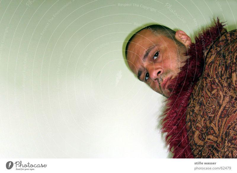 Lude Mann Gesicht Mantel Textfreiraum unrasiert