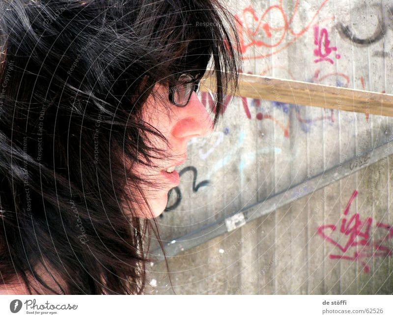 de nori schön Brille Wand Gesicht Haare & Frisuren mund offen Wind Seite Blick