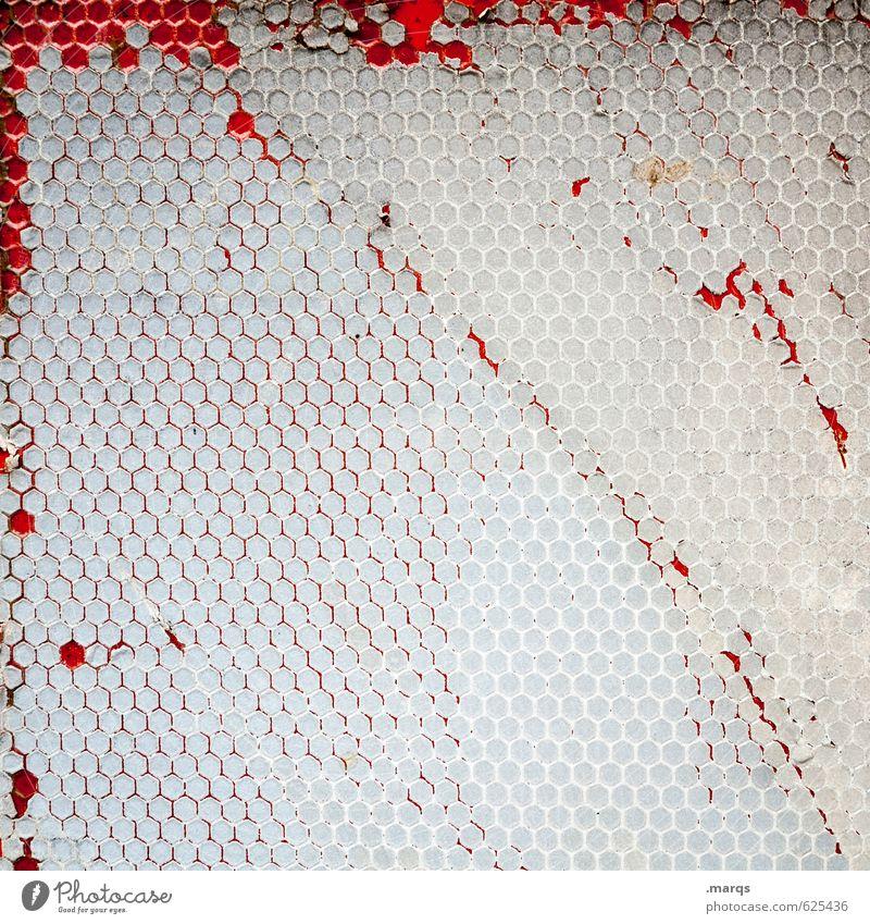Waben Lifestyle elegant Stil Design Schilder & Markierungen alt außergewöhnlich Coolness trendy kaputt rot weiß Hintergrundbild Farbfoto Detailaufnahme abstrakt