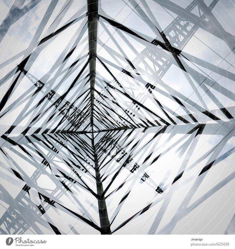 Strom Himmel Umwelt oben außergewöhnlich Energiewirtschaft groß hoch Zukunft Technik & Technologie Industrie Beratung Wirtschaft Strommast Doppelbelichtung Fortschritt Erneuerbare Energie