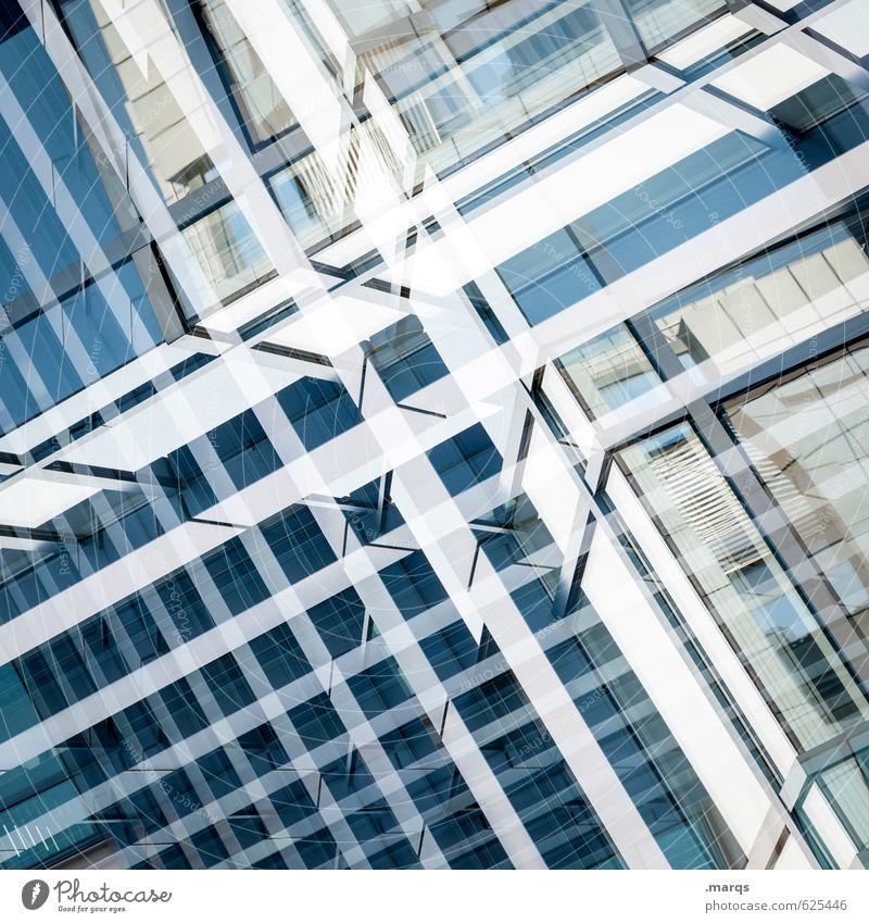 Verdoppelt elegant Stil Design Bauwerk Fassade Glas Metall Linie ästhetisch modern neu blau weiß Ordnung Perspektive Zukunft Doppelbelichtung Farbfoto