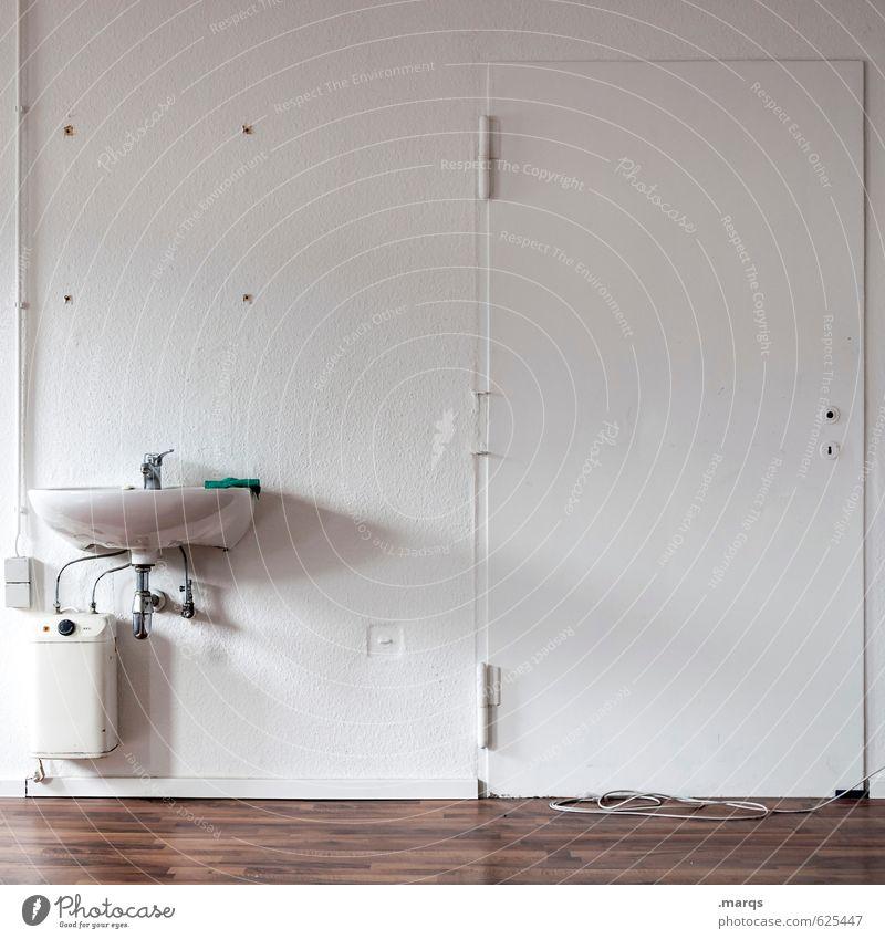 Kein Ausweg Häusliches Leben Wohnung Umzug (Wohnungswechsel) Innenarchitektur Tür Waschbecken Bodenbelag Wand außergewöhnlich hell weiß Misserfolg geschlossen