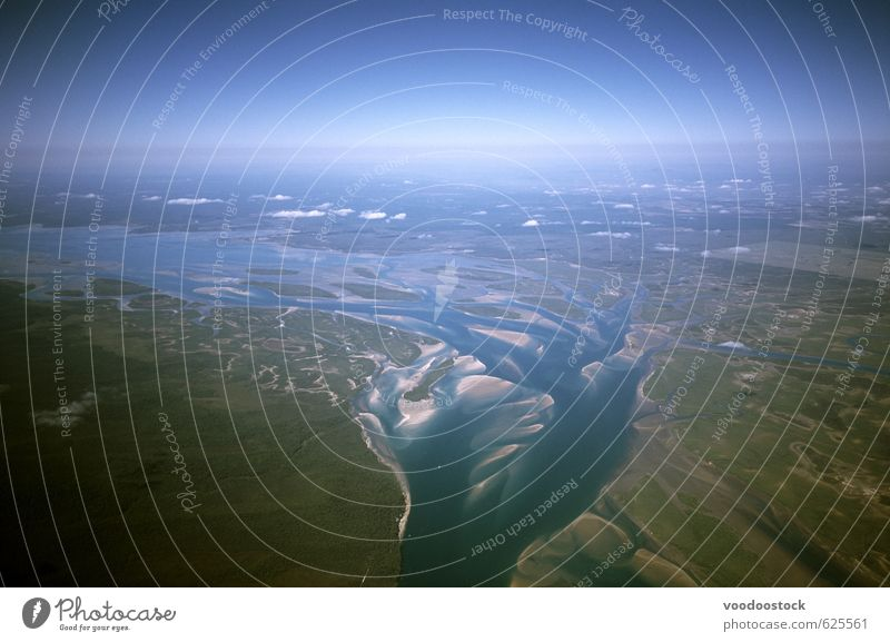 Flussdelta Ferne Umwelt Natur Landschaft Erde Sand Wasser Himmel Horizont Klima Fluggerät fliegen Ferien & Urlaub & Reisen blau grün komplex Australien