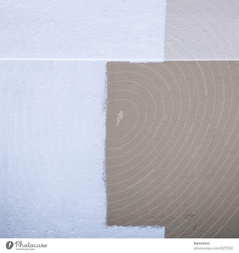 C. Haus Hausbau Renovieren Handwerker Anstreicher Einfamilienhaus Mauer Wand Fassade Stein Beton Linie streichen braun weiß Farbfoto Gedeckte Farben