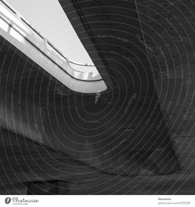 hin und her. Stadt Straße Gefühle Bewegung Wege & Pfade grau Linie Metall Verkehr Beton Brücke Wandel & Veränderung Güterverkehr & Logistik Bauwerk Ende unten