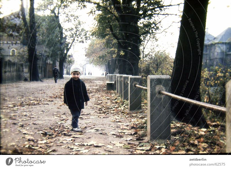 Ganz früher IV Kind Blatt Herbst Junge Spaziergang Geländer Stadt Sechziger Jahre Sonntag Kleinstadt Familie & Verwandtschaft Wochentag