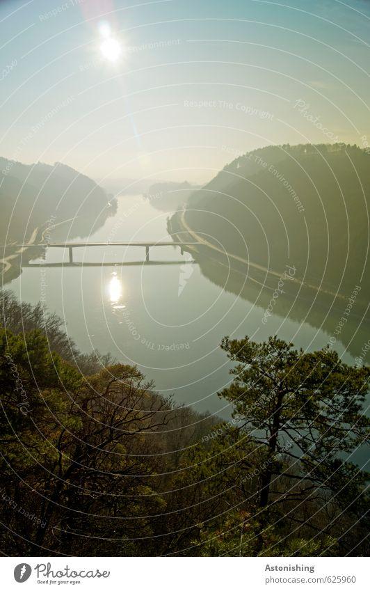 die Donaubrücke Umwelt Natur Landschaft Pflanze Luft Wasser Himmel Wolkenloser Himmel Horizont Sonne Sonnenaufgang Sonnenuntergang Sonnenlicht Herbst Wetter