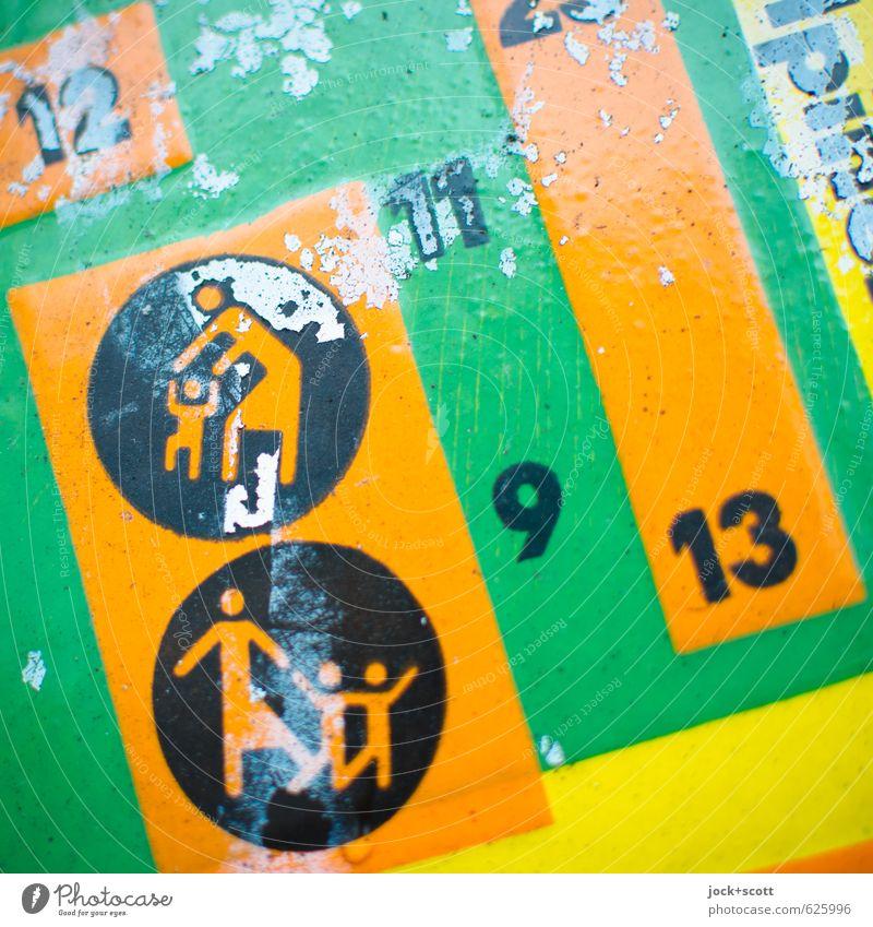 geometrische Flächen für Kinder grün Farbe rot gelb Metall Zusammensein orange dreckig Kindheit laufen Kreis Hinweisschild Lebensfreude niedlich Grafik u. Illustration festhalten