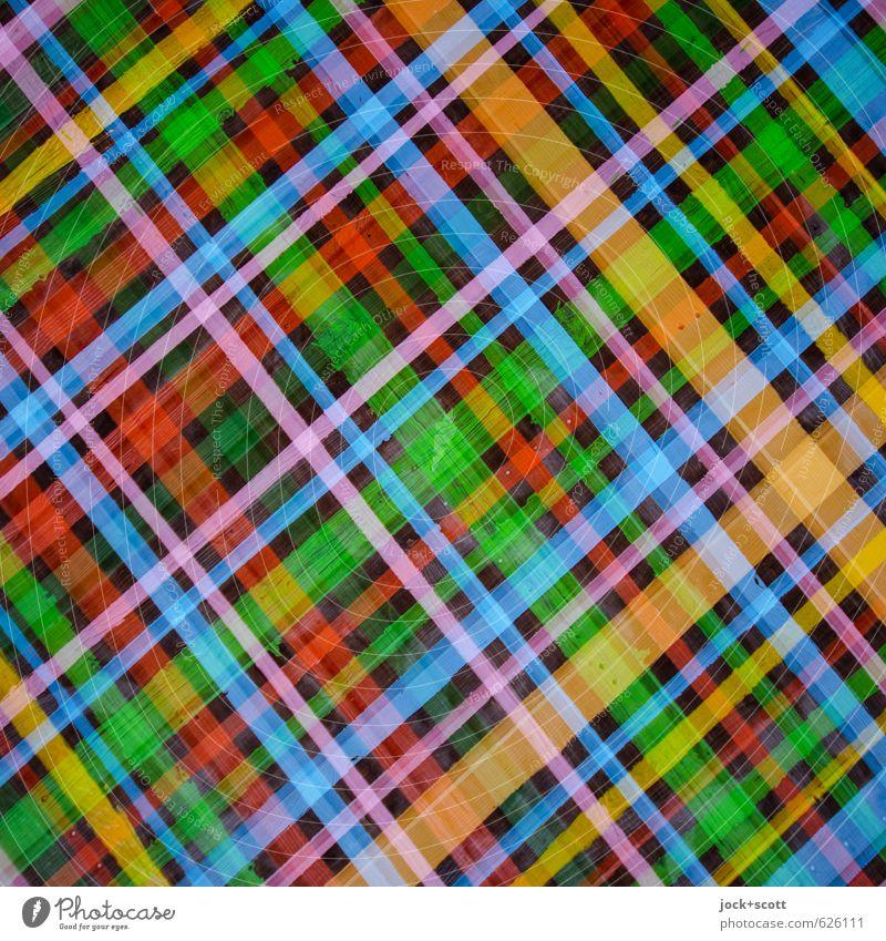 Karolatte Ambiente Kunstwerk Subkultur Krimskrams Holz Linie Streifen Netzwerk viele Design Kreativität Ordnung Straßenkunst kariert Doppelbelichtung Kreuz