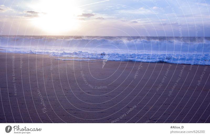 Gezeitenwelle Natur Landschaft Urelemente Sand Wasser Himmel Wolken Horizont Sonnenaufgang Sonnenuntergang Sonnenlicht Sommer Schönes Wetter Wellen Küste Strand