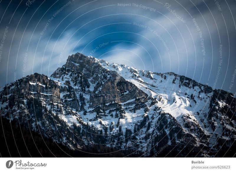clouds moving Ferien & Urlaub & Reisen blau Erholung Landschaft Wolken Winter Ferne Berge u. Gebirge Schnee Bewegung Klima Schneebedeckte Gipfel Sehnsucht
