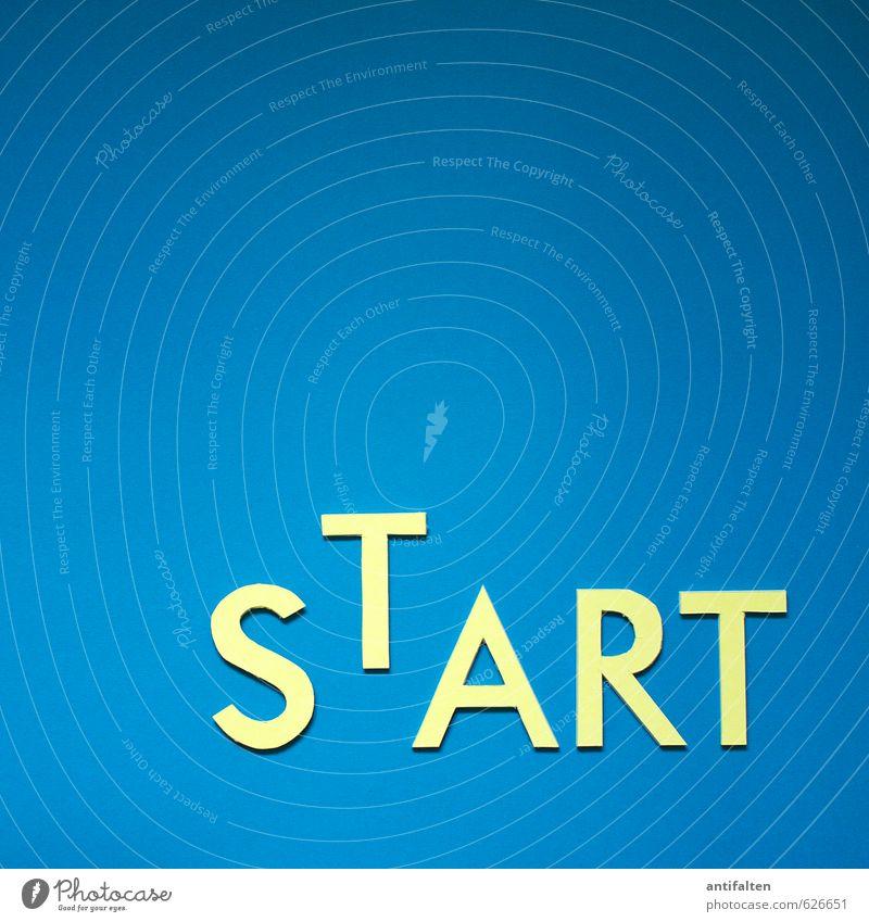 START Freizeit & Hobby Basteln Handarbeit Printmedien Schriftzeichen liegen ästhetisch positiv blau gelb Begeisterung Euphorie Bewegung Idee Typographie Text