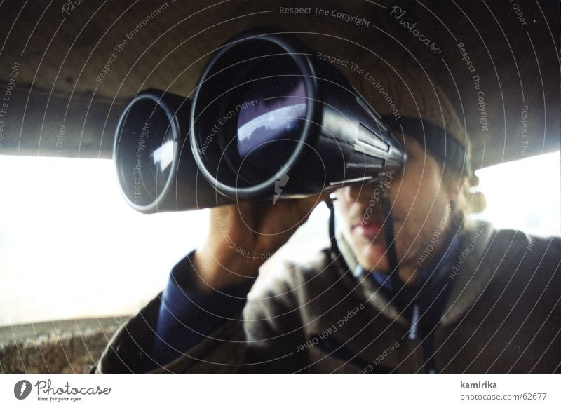 auf der pirsch Ferne Wildtier Suche beobachten Jagd Fernweh Jäger Linse finden Fernglas Hochsitz vergrößert Gefühle Pirsch