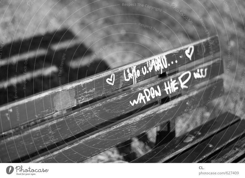 wir waren hier Wiese Liebe Gras Glück Freundschaft Zusammensein Park Schriftzeichen Schönes Wetter Herz Lebensfreude Zeichen Romantik Kitsch Bank Information
