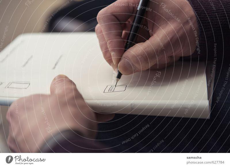 Notizen Bildung Wissenschaften Erwachsenenbildung Schule lernen Berufsausbildung Studium Student Büroarbeit Hand Finger Schreibwaren Schreibstift zeichnen
