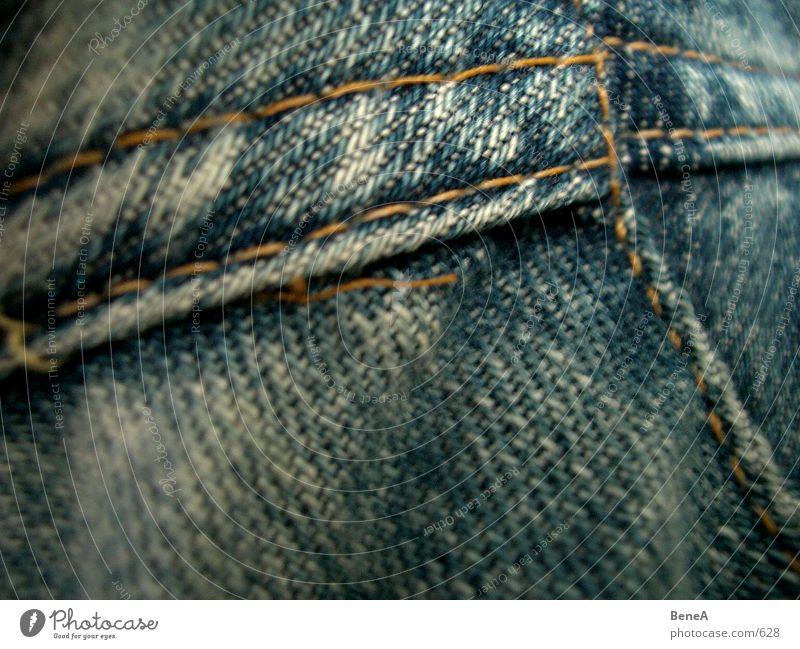 Jeans Stoff Hose Naht Bekleidung Design Stil Muster gelb Grunge dunkel Unschärfe nah Textilien Qualität Stabilität immer Makroaufnahme Nahaufnahme Jeanshose