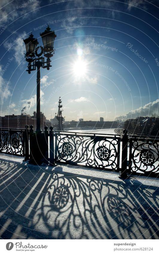 tiefe Sonne, lange Schatten, Winter in Moskau Ferne Himmel Wolken Eis Frost Flussufer Brücke Bauwerk Architektur Stahl träumen blau schwarz Tod Vitamin Mangel