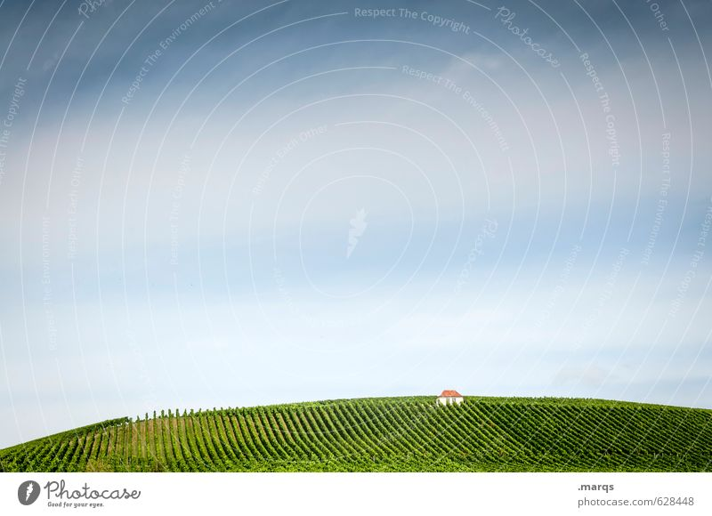 Haus Himmel Natur schön Pflanze Sommer Einsamkeit Landschaft oben Idylle Schönes Wetter genießen Hügel Landwirtschaft Hütte ländlich Weinberg