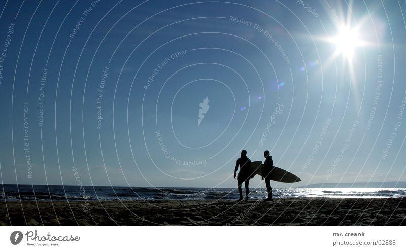 Bournemouth Sonne Meer Strand See Insel Freizeit & Hobby Surfen England untergehen Surfer Großbritannien Surfbrett