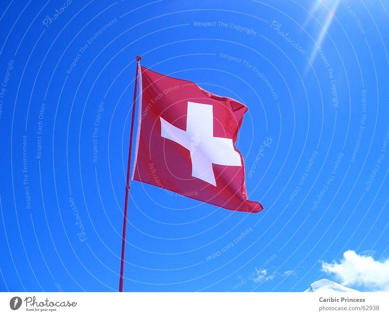 Freiheit des Himmels Sonne Fahne Schweiz Schönes Wetter