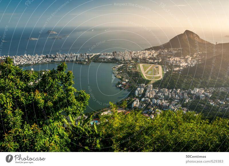 Aussicht über Rio de Janeiro Ferien & Urlaub & Reisen Stadt Sommer Sonne Baum Meer Landschaft ruhig Ferne Strand Freiheit Tourismus Insel Schönes Wetter Ausflug
