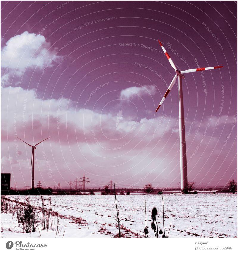 windrad landschaft Landschaft Ferne Windkraftanlage himmel lila Schnee 6x6