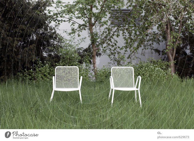 zwei stühle, keine meinung Häusliches Leben Garten Stuhl Umwelt Natur Landschaft Frühling Sommer Baum Gras Sträucher Park Wiese sitzen warten Freundschaft
