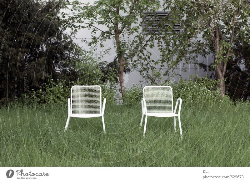 zwei stühle, keine meinung Natur Sommer Baum Einsamkeit Landschaft ruhig Umwelt Wiese Gras Frühling Garten Freundschaft Zusammensein Park Häusliches Leben
