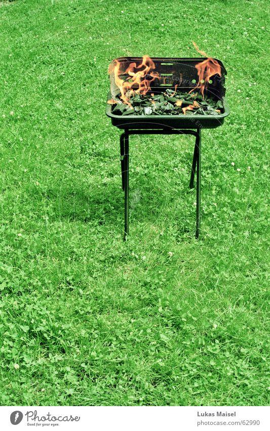 *feuer und gras Sommer Ferien & Urlaub & Reisen Wiese Gras Garten Brand Kochen & Garen & Backen heiß Grillen Fleisch Grill Bratwurst Glut Wurstwaren Steak Veranda