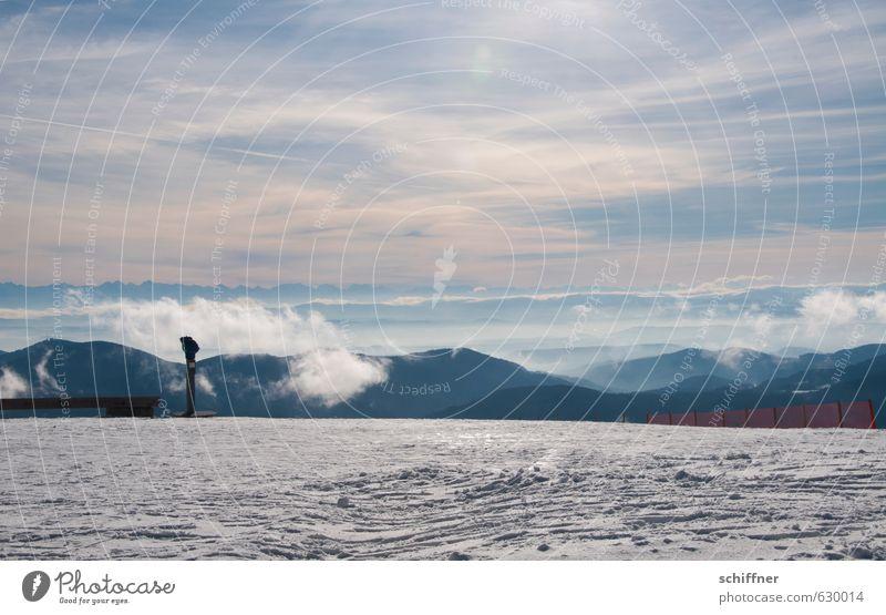 Über allem Umwelt Natur Landschaft Urelemente Erde Himmel Wolken Sonnenlicht Winter Klima Klimawandel Wetter Schönes Wetter Eis Frost Schnee Hügel Alpen