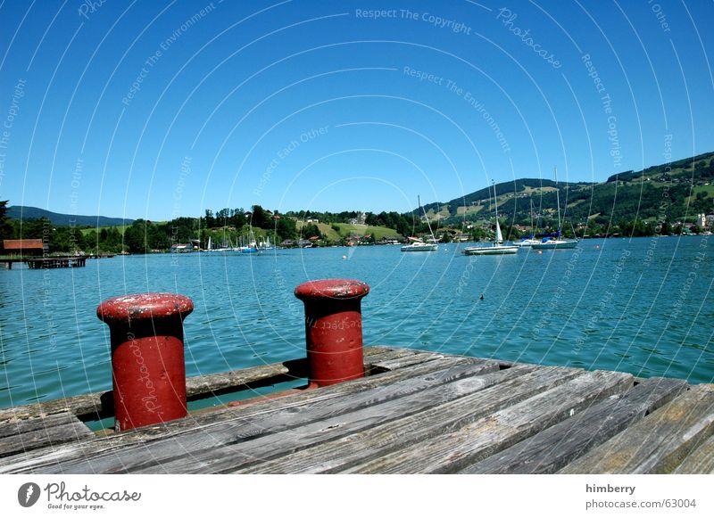mondsee Sommer Landschaft See Wasserfahrzeug Steg Im Wasser treiben Paradies Österreich Segelboot Sommerferien