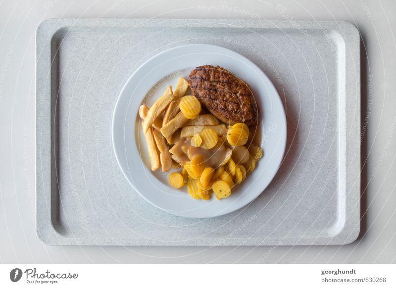 Mensa: gesunde Gelb-Braun-Tellermischung III Lebensmittel Fleisch Wurstwaren Gemüse Pommes frites Boulette Fleischklösse Möhre Ernährung Mittagessen Geschirr