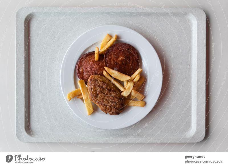 Mensa: gesunde Gelb-Braun-Tellermischung II / Antivegetarier II gelb Essen braun Lebensmittel Schule gold Tisch lernen lecker Übergewicht Geschirr Restaurant