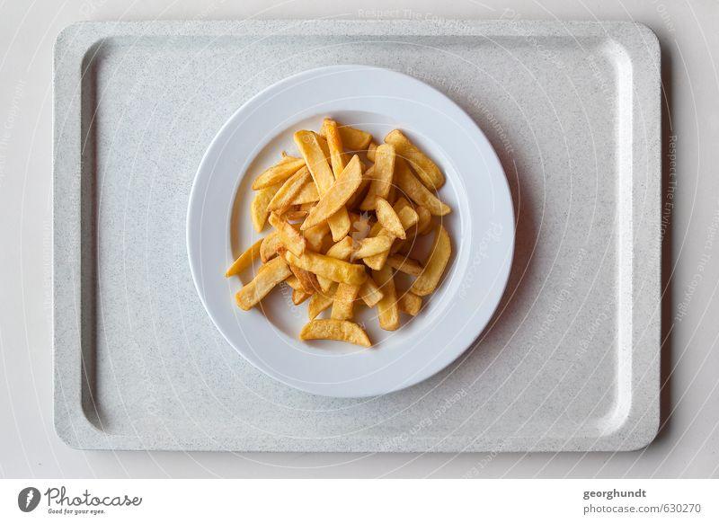 Mensa: gesunde Gelb-Gelb-Tellermischung Lebensmittel Beilage Pommes frites Ernährung Essen Mittagessen Geschirr Tablett Übergewicht Tisch Küche Restaurant
