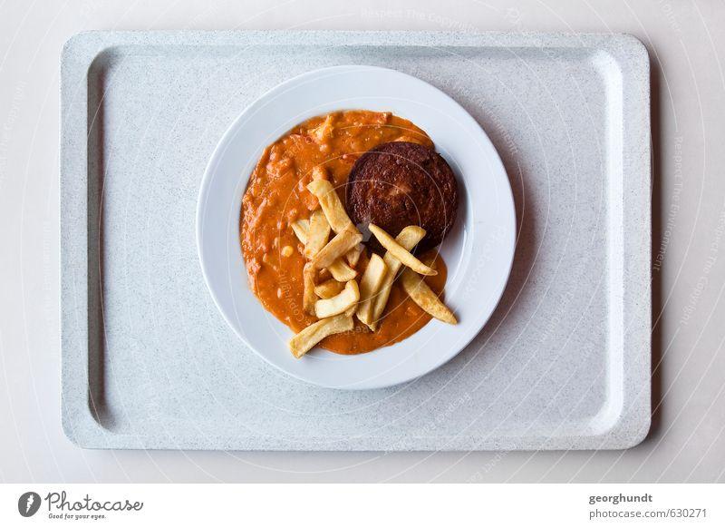 Mensa: gesunde Gelb-Braun-Tellermischung I Lebensmittel Fleisch Wurstwaren Jagdwurst Pommes frites Saucen jägerschnitzel Ernährung Essen Mittagessen Geschirr