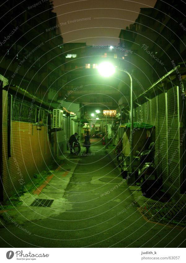 dunkle gasse Taiwan Taipeh Nacht dunkel Gasse Laterne Straße Wege & Pfade Mensch zwielichtig