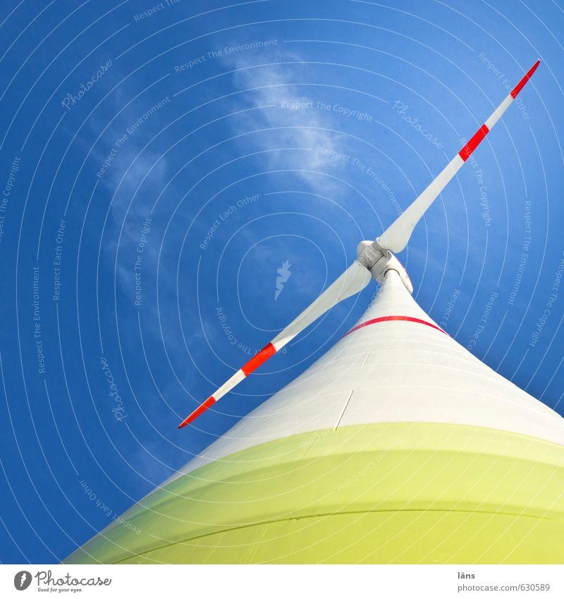 regenerativ l Windkraft Himmel blau grün Bewegung außergewöhnlich Energiewirtschaft Erfolg Schönes Wetter Zukunft fantastisch Hoffnung stark Windkraftanlage