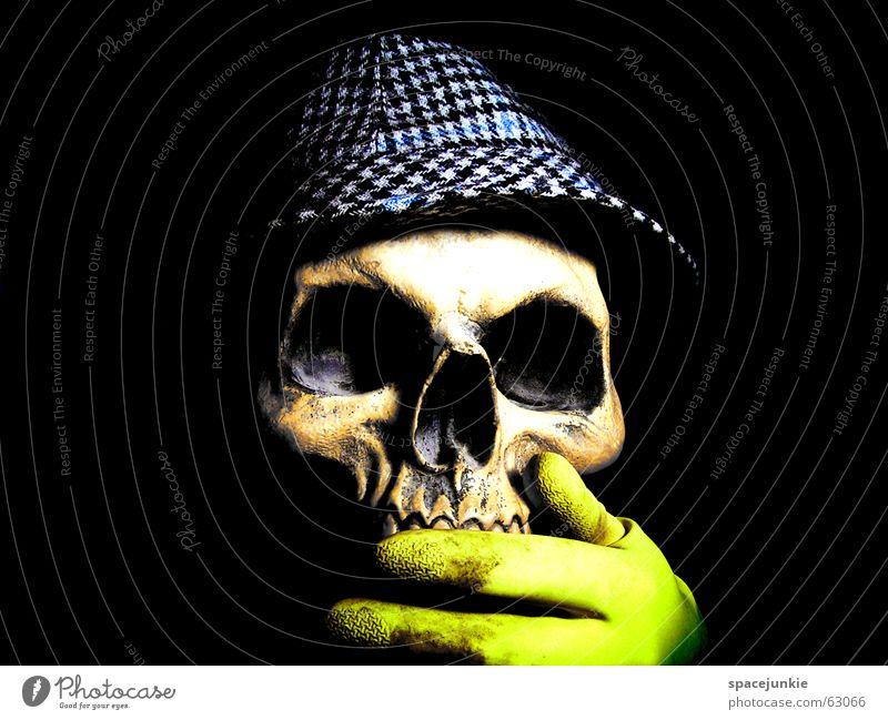Voodoo (4) Hand weiß schwarz gelb dunkel Kunst verrückt Afrika Hut Freak Tradition Zauberei u. Magie Skelett Schädel Zauberer Bekleidung