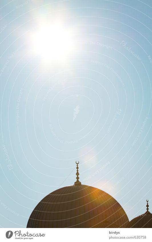 Moschee blau Sonne Architektur Religion & Glaube hell Deutschland leuchten Schönes Wetter ästhetisch Dach rund Zeichen heiß Glaube Wolkenloser Himmel exotisch
