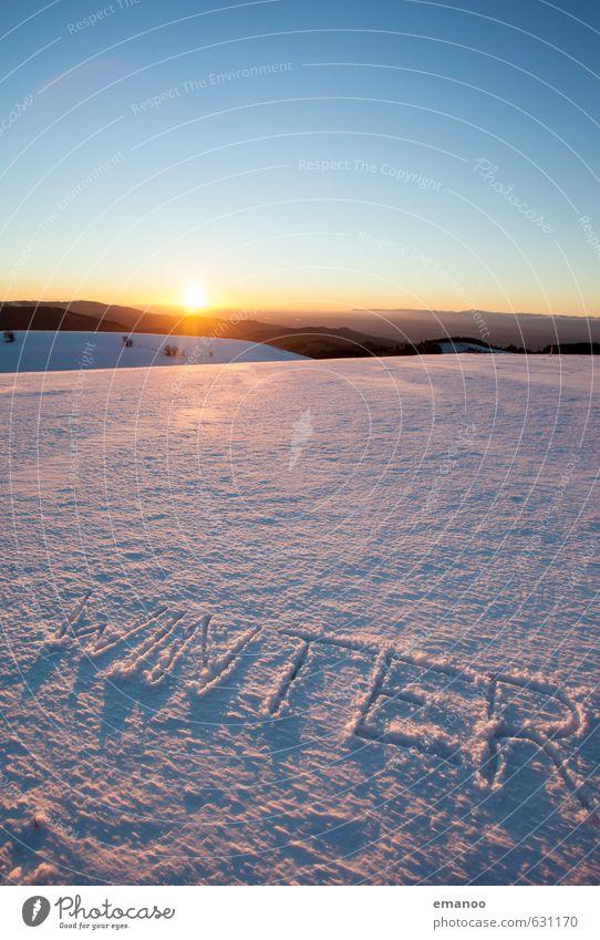 wirklich winter Natur Ferien & Urlaub & Reisen blau Erholung Landschaft ruhig Ferne Winter kalt Berge u. Gebirge Schnee Freiheit Eis Schriftzeichen Romantik