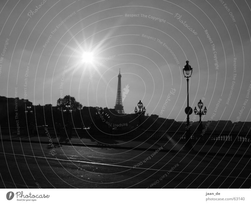 Paris, Paris ... Tour d'Eiffel Eisen Stahl Europa Frankreich Stadt Licht träumen Straßenbeleuchtung Laterne Lampe Aussicht Gegenlicht Außenaufnahme Turm Sonne