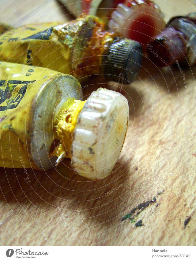 opas farbe Tube Ölfarbe Gemälde Holz Kunst scheckig alt gelb spritzen Farbe colour Erdöl streichen Fleck