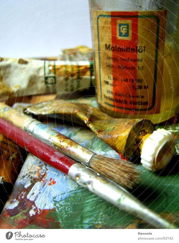 opas farben 2 alt gelb Farbe Holz Kunst streichen Flüssigkeit Gemälde Erdöl Fleck spritzen Pinsel Tube scheckig Paletten Ölfarbe