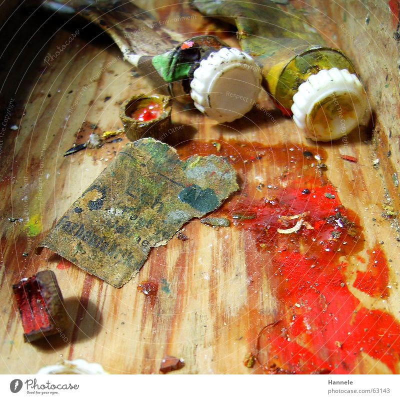 opas farben 3 alt gelb Farbe Holz Kunst streichen Gemälde Erdöl Fleck spritzen Tube scheckig Fetzen Ölfarbe
