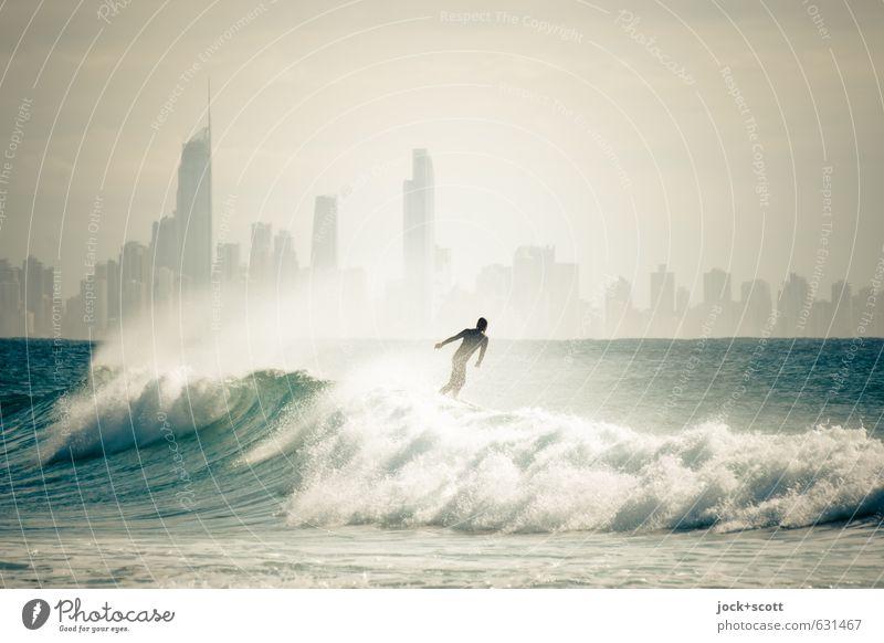 Surfer's Delight Mensch Wasser Meer Freude Ferne Leben Horizont Freizeit & Hobby frei fantastisch Lebensfreude Coolness Körperhaltung sportlich Skyline