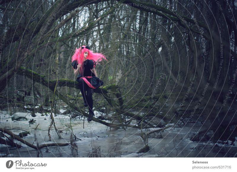 Pink Bow Mensch Frau Natur Baum Einsamkeit Landschaft Winter dunkel Wald Erwachsene Umwelt feminin Haare & Frisuren Eis Bekleidung Ast