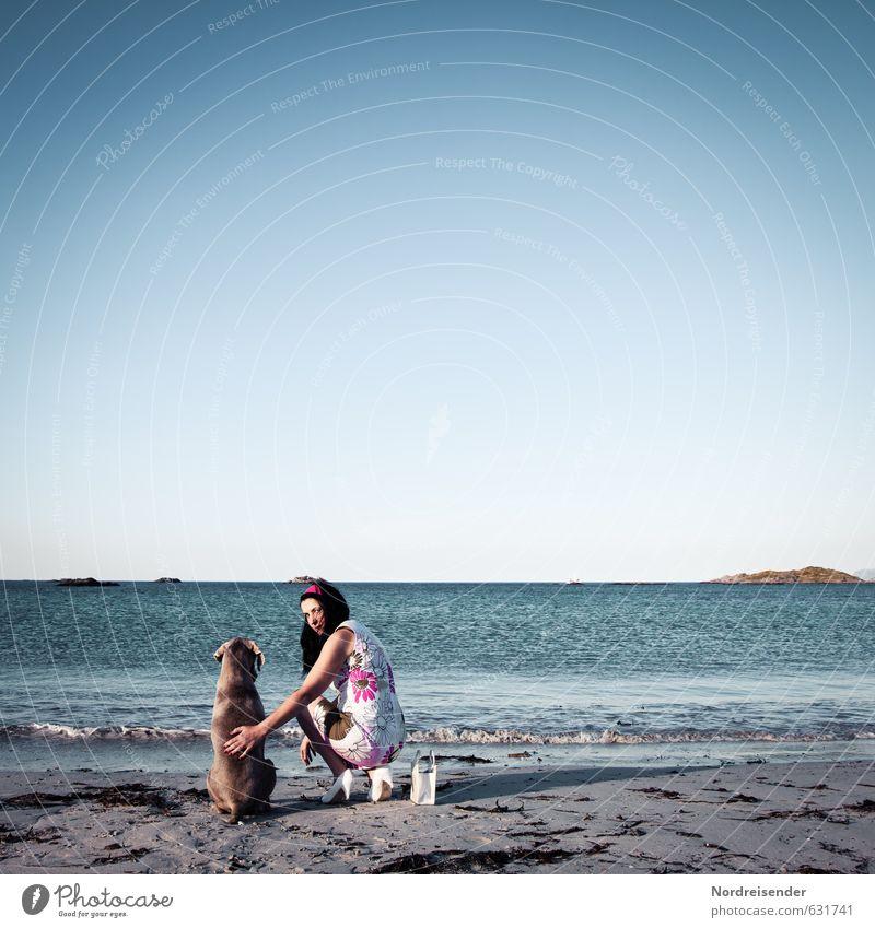 Zwei Damen am Meer Lifestyle Freude Sommer Sommerurlaub Strand Mensch feminin Frau Erwachsene Leben Wasser Schönes Wetter Kleid Tier Hund beobachten entdecken