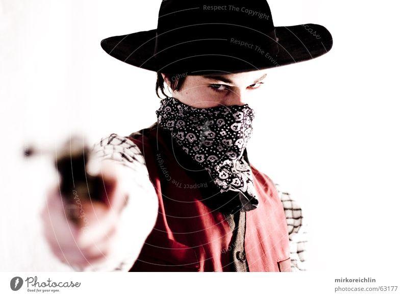 The Cowboy 2 Mann Junge wild Gewalt Hut Westen Pistole Krimineller Waffe Gewehr